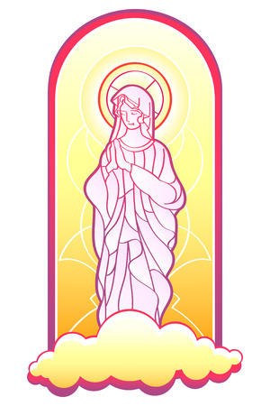 virgen maria: Virgen Mar�a, en el marco de vidrieras aislado