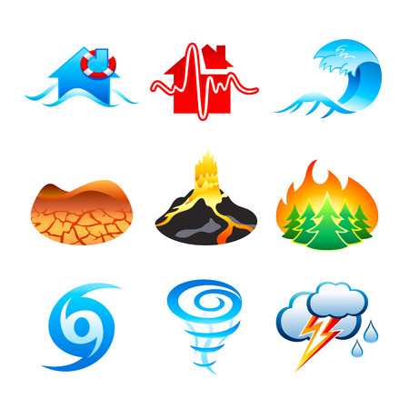 katastrof: Flood, earthquake, tsunami, drought, volcano eruption, forest fire, hurricane, tornado, thunderstorm icons Illustration