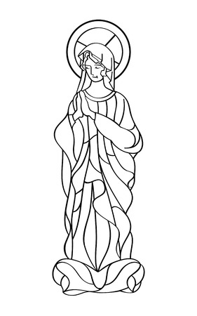 solemn: Blessed Virgin Mary in black and white contour drawing