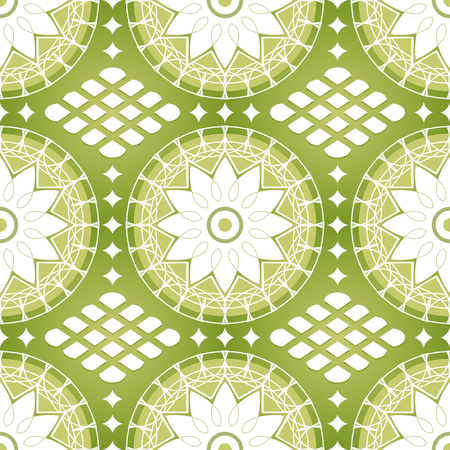 Seamless classic russian lacing pattern in grassy colors Vector