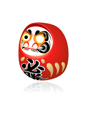 visage peint: Daruma japonais (dharma) ann�e souhait jouet isol�