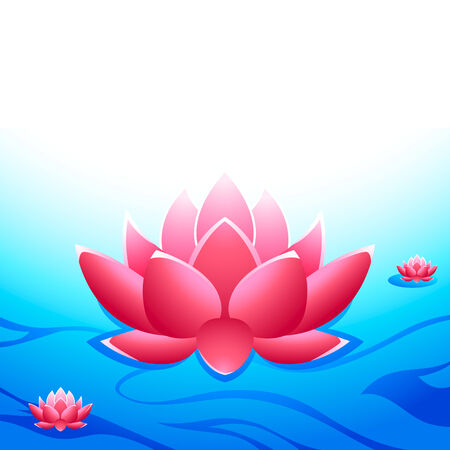 Sacred lotuses at the heavens garden Vector