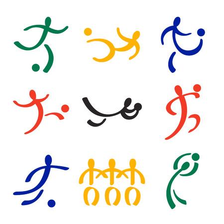 world player: Iconos de jugador de f�tbol en colores de la bandera del Sur Africano Vectores
