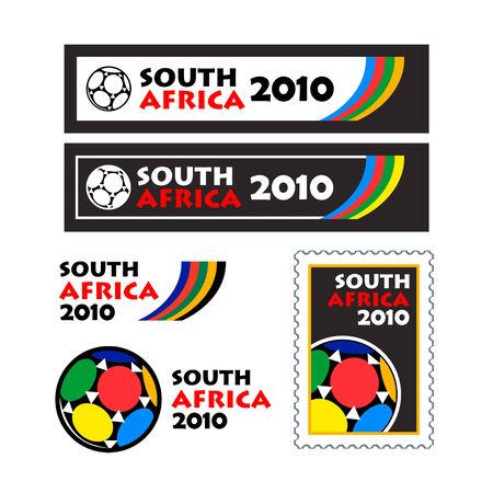 teaser: Mondo calcio tazza 2010 occhiolino e disegni di banner isolati  Vettoriali