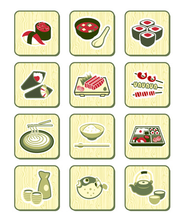 nori: Traditional japanese food icons over bamboo pattern Illustration