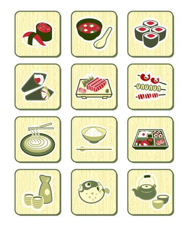 Traditional japanese food icons over bamboo pattern Ilustração Vetorial
