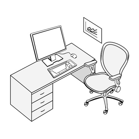 office furniture: Typical office place in black and white contour drawing Illustration