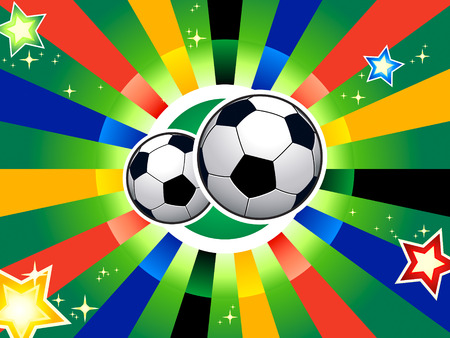 Soccer balls over abstract background Vector