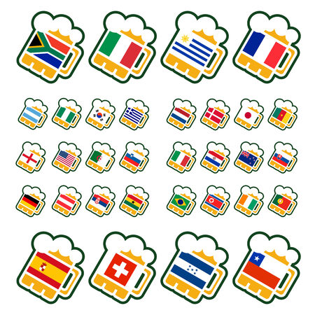 Beer glasses with flags of the leading soccer countries Vector