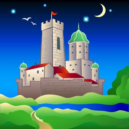 Ancien château entouré de douves médiévales à la nuit d'été lumineuse