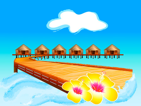 Wooden footbridge to Maldives water houses Stock Vector - 6611528