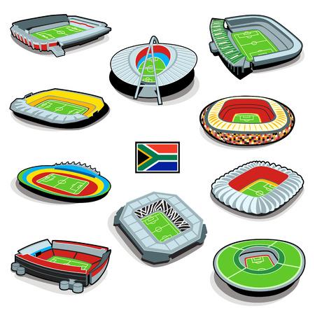 soccer stadium: Infograf�as de estadio de f�tbol del Sur africano con bandera Vectores