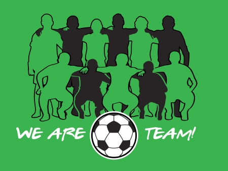Soccer team player silhouettes with ball over green field Vector