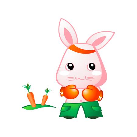 ojos anime: Lindo conejo boxeo para zanahoria internamente Vectores