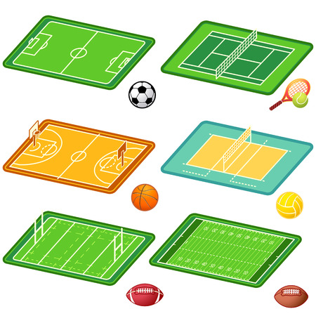 Soccer, tennis, basketball, volleyball, ragby, american football fields layout and balls Vector