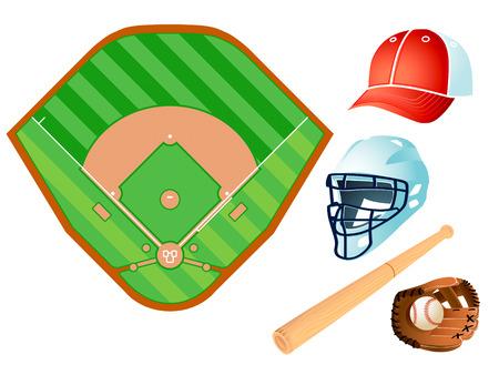 baseball field: Baseball field layout and bat, helmet, glove, ball and cap