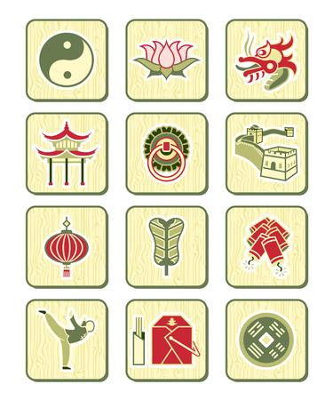 pagoda: La cultura china tradicional icono conjunto de objetos y s�mbolos.