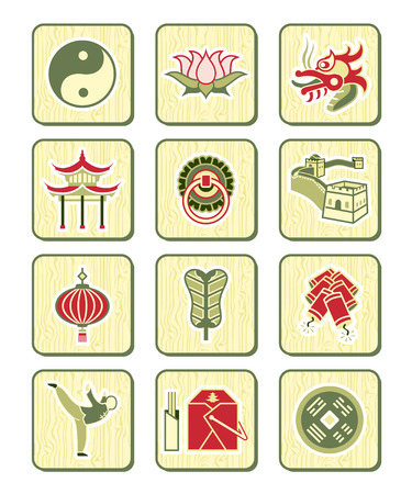 coin box: Traditional Chinese culture symbols and objects icon set.
