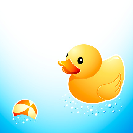 Cute bathroom duck and ball at the foam water Illustration