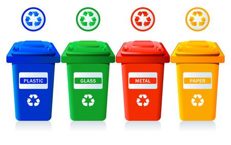afvalbak: Grote containers voor de recycling van afval sorteer - kunst, glas, metaal, papier Stock Illustratie