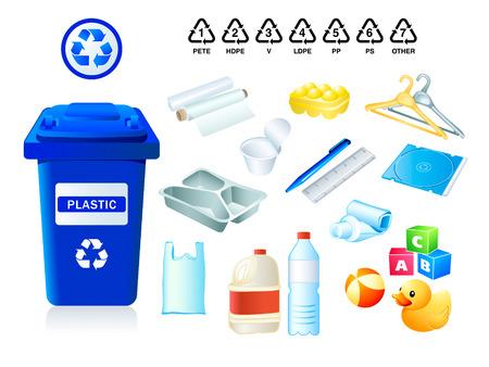 papelera de reciclaje: Adecuado para c�digos de pl�sticos y reciclaje de desechos pl�sticos  Vectores