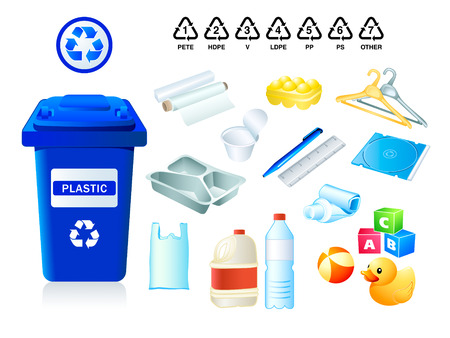 plastic: Plastic afval die geschikt zijn voor hergebruik en plastic codes  Stock Illustratie
