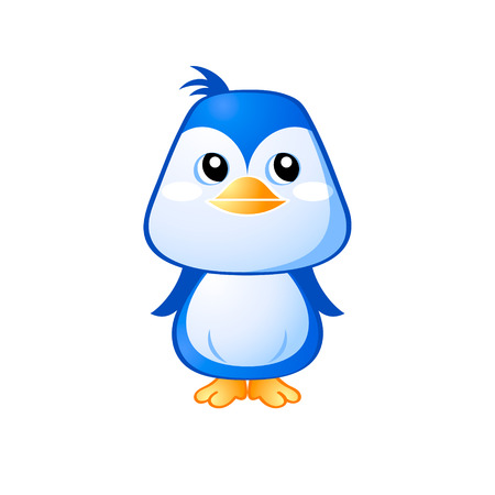 Cute little penguin in japanese drawing style isolated