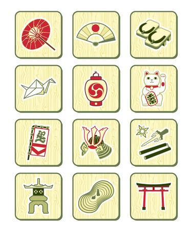 torii: Japon�s tradicional cultura objetos conjunto de iconos sobre el patr�n de bamb�