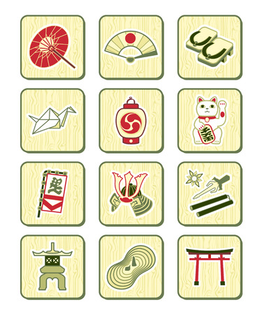 paper lantern: Traditional japanese culture objects icon-set over bamboo pattern