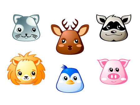 Cute baby cat, deer, raccoon, lion, penguin and pig Illustration