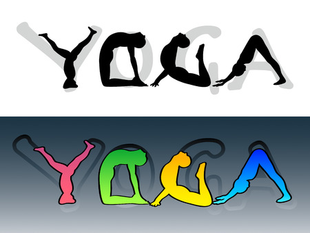 beautify: Yoga symbol made from people silhouettes and letters