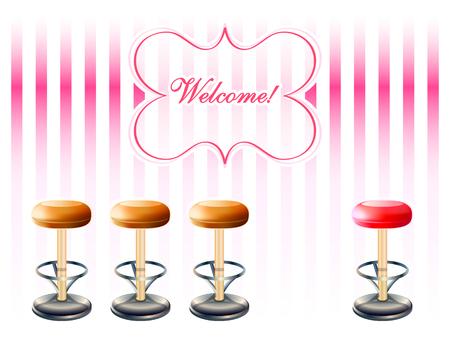 sgabelli: Bar sgabelli su strisce rosa retr� con cornice di benvenuto