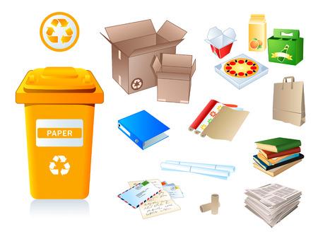 afvalbak: Papier afval en afval die geschikt zijn voor hergebruik Stock Illustratie