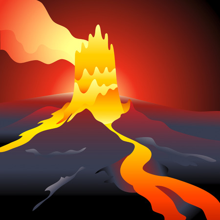 volcano eruption: Volcano eruption over night burning sky Illustration