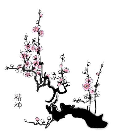 flor de sakura: Pintura de Sakura en estilo de acuarela China Vectores