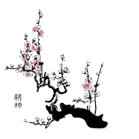 chinese watercolor: Sakura painting in chinese watercolour style