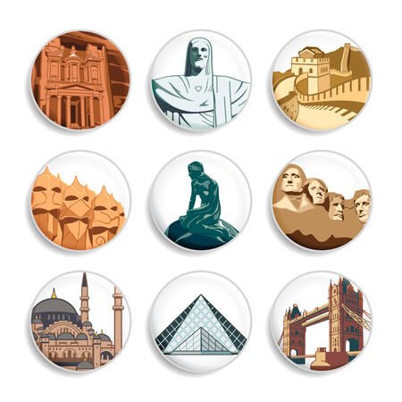 mausoleum: Badges with famous places all around world | Set 3