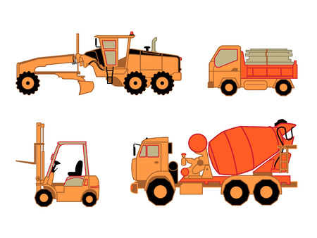 Motor grader, dump truck, lift truck and concrete mixer truck isolated Vector