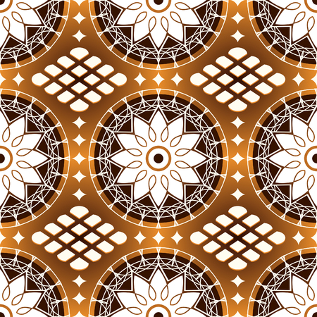 Seamless classic russian lacing pattern in dark coffee colors Vector