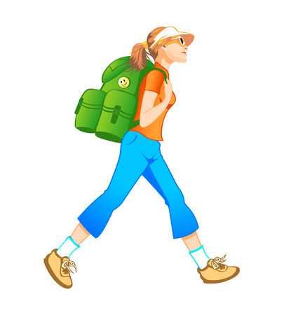 woman hiking: Traveling tourist girl with backpack profile isolated Illustration