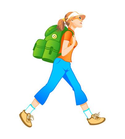 Viaje turístico chica con perfil de mochila aislado  Ilustración de vector