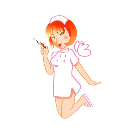 injectie: Cute verpleegster sprookje met de magische spuit