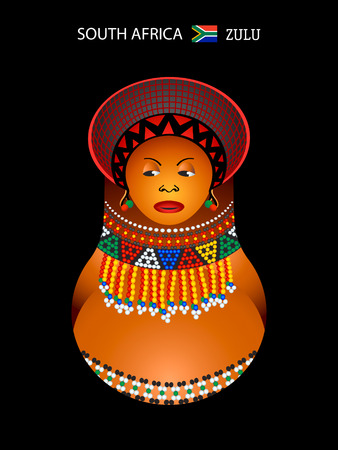 south african flag: Matryoshkas of the World: zulu girl in beaded decoration Illustration