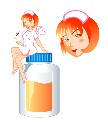 Cute nurse fairy sitting at the jar of pills top Vector