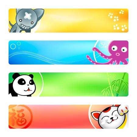 neko: Colorful anime banner or sider backgrounds. Base banner size is 120x600. Illustration