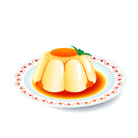 Yummy crema di panna cotta dessert sulla piastra con decorazione di cuori