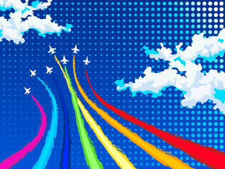 Rainbow airplanes flying over clouds