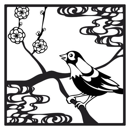 papercut: Papercut frame with bird and flowers in chinese style