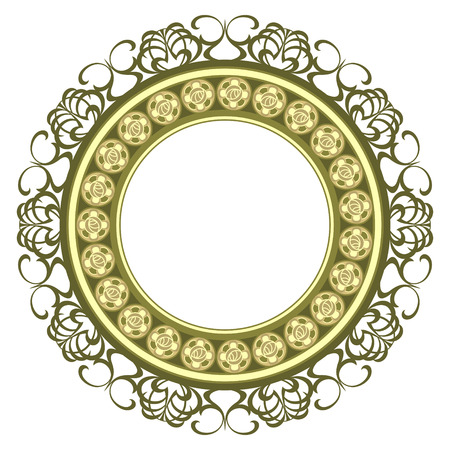 yellow crown: Vintage decorated medallion frame isolated over white