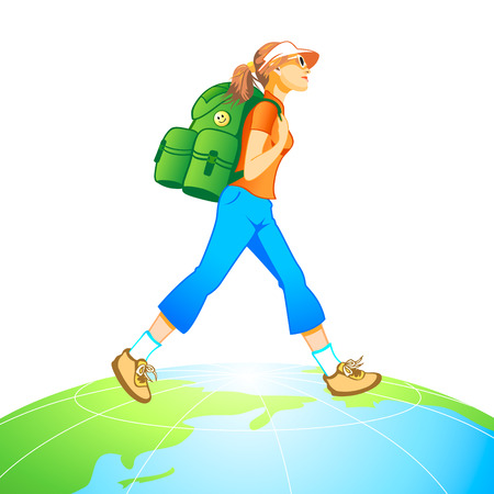 hiker: Traveling tourist girl with backpack at the top of world globe